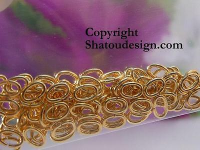 100x GOLD-PLATED OVAL JUMPRINGS, 4.5x3mm, 22ga, for jewelry making