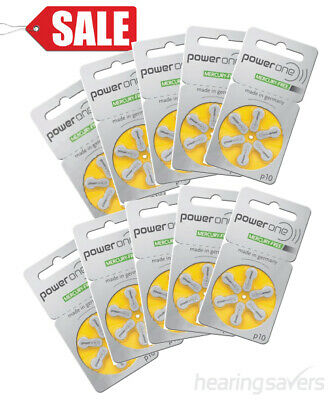 Box of Power One Hearing Aid Batteries p10 (size 10) MF (60 cells)