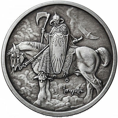 Death Dealer 1 oz .999 Silver Antiqued Finish Encapsulated Round USA Made Coin