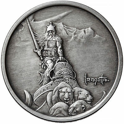 Silver Warrior 1 oz .999 Silver Antiqued Finish Encapsulated Round USA Made Coin