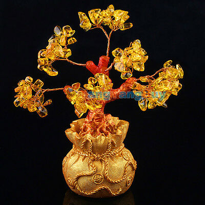 Money Wealth Bag Feng Shui Lucky Tree Size S Citrine Crystal Yellow