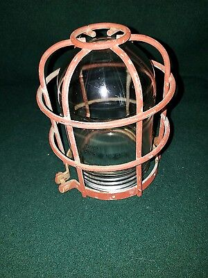 Vintage Industrial Factory Light Glass Globe & Wire Cage Steampunk Howe Engr. Co
