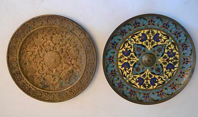 19th Century French F. Barbedienne French Bronze and Champleve Enamel Plates