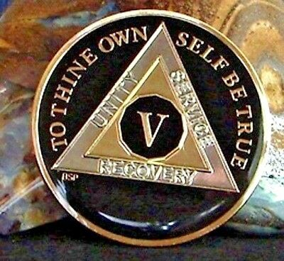 Black Alcoholics Anonymous AA 5 Year Medallion Token Chip Coin Sober Sobriety