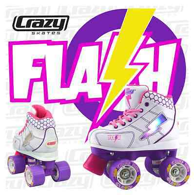 Crazy FLASH - LED LIGHT UP Roller Skates, White/Purple, Speed Rollerskates NEW
