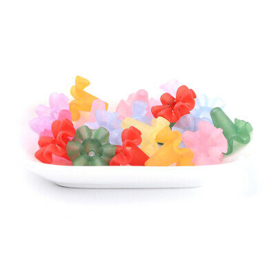 50pcs Colorful Transparent Acrylic Big Flower Beads Frosted Loose Bead Caps 27mm