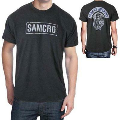 Sons Of Anarchy SAMCRO SOA Reaper Patch Licensed Men's T-Shirt Dark Gray