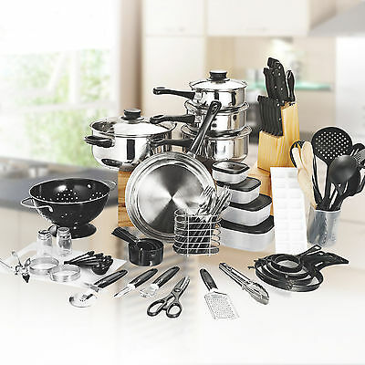 80pcs KITCHEN STARTER SET - Cookware Cutlery Pans Knives Utensils Canisters *NEW
