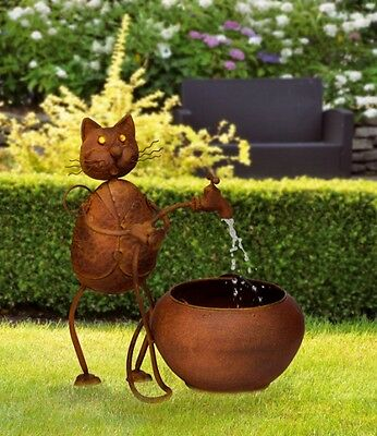 Metal fountains With Cat And Pump Ornamental Fountain Garden Fountain garden