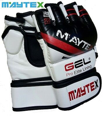 Authentic Cow Hide Leather MMA Boxing Gloves 7OZ Maytex