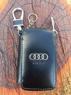 Audi Auto Car Key Chain Remote Holder Case Bag With Clip Wallet Pouch Rr32#