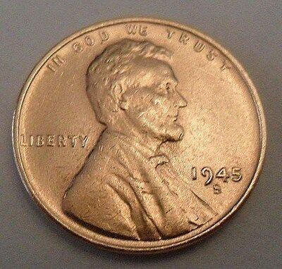 1945 S Lincoln Wheat Cent / Penny Coin  **FREE SHIPPING**