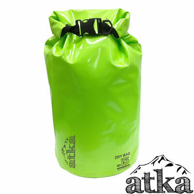 ATKA Dry Carry Bag 15L GREEN Waterproof Travel Sack Camping Canoe Kayak Floating