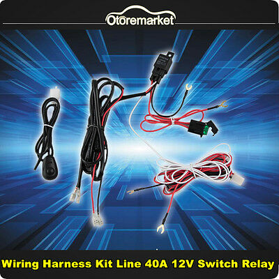 Universal Wiring Kit Led Work Light Bar Wiring Harness +Fuse +Switch +Relay 12V
