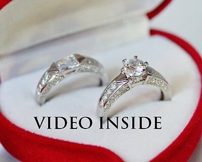 Engagement & Wedding Diamond Ring Sets.Fine Sterling Silver