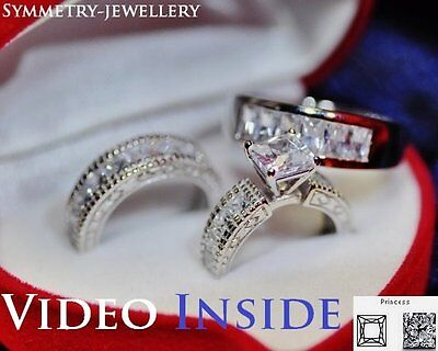 3.69 ct Princess Cut Created Diamond Engagement Ring Real 925 Sterling Silver