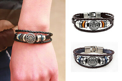 Vintage Punk Studded Leather Braided PU Mens Bracelet Wristband Cuff Accessories
