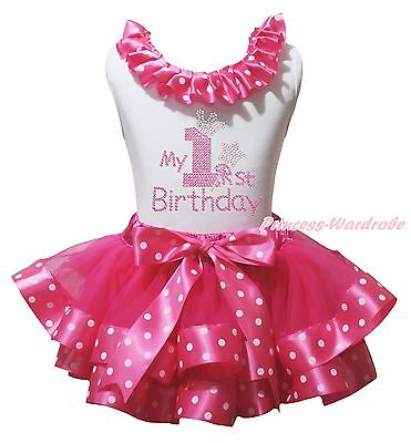 My 1ST Birthday White Cotton Top Hot Pink Dot Satin Trim Girl Skirt Outfit NB-8Y
