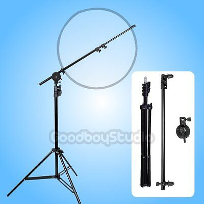 AU Studio Photo Reflector Disc Boom Holder Arm with Swivel Head + 2m Light Stand