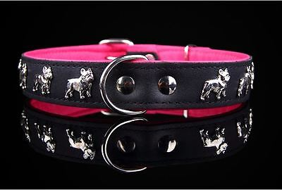 Quality Hand-Stitched Leather French Bulldog Dog Collar - Pink & Black