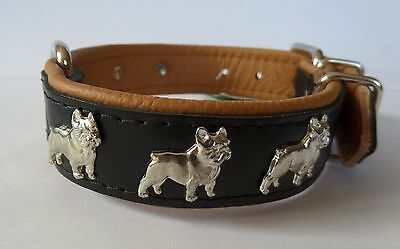 Quality Hand-Stitched Strong Leather French Bulldog Dog Collar - Black & Tan
