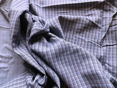 Vintage Blue Grey Check Cotton Dress Fabric