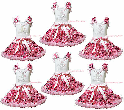 My 1ST 2ND 3RD 4TH Birthday White Top Girls Pink Bling Sequins Skirt Outfit 1-8Y