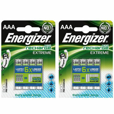8 x Energizer AAA EXTREME Rechargeable Batteries 800 mAh Pre Charged NiMH LR03