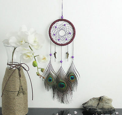 Decor Peacock 18 inch Room Feather Dream Catcher Room Wall NEW Car Hanging