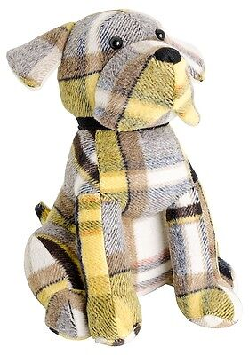 Yellow Tartan Doggy Door Stop