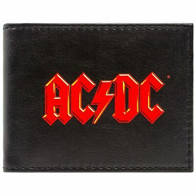 New Official Ac/dc Music Rock Band Red Logo Black Id & Card Bi-Fold Wallet