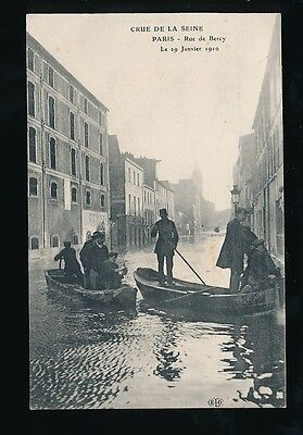 France PARIS Inondations Floods 1910 Rue de Bercy Seine PPC