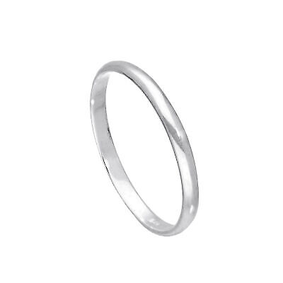 925 Real Sterling Silver 2mm D Shaped Wedding Band Ring Size E - W Plain Small