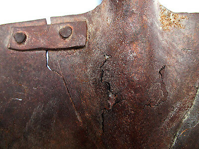 Iron Farming Tool, Primitive Repair in Old Shovel, a Piece of Plaque with Rivets