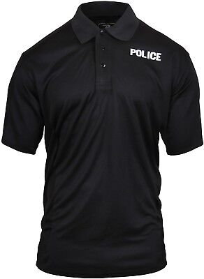 Black Moisture Wicking POLICE Double Sided Polo Golf Shirt