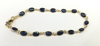 14k Yellow Solid Gold Tennis Bracelet, Natural Oval Sapphire 7.25inches. 8TCW