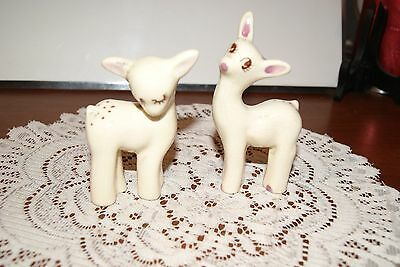 Vintage...lot Of 2 Fawns...ceramic...white, With Gold Tone Trim.....figurines
