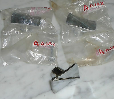 3 Vintage Ajax Chrome Atomic Rectangular Knob Cabinet Door Pulls