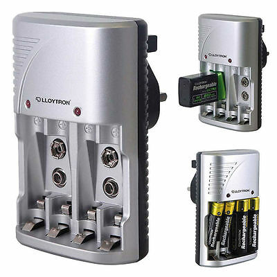 Lloytron B1502 Plug in Battery Charger For Rechargeable AA / AAA / 9V Batteries