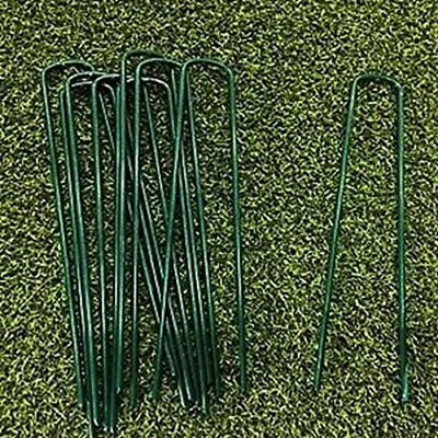 Green U-shaped Garden Pins Securing Pegs for artificial grass weed fabric ground