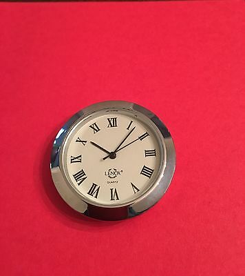 "Clock Insert 1-7/16 "" Silver Color 1 Pc Mini Clock Insert Quartz"