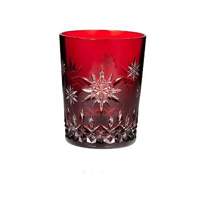 """Waterford """"Wishes for Joy"""" Prestige Edition Ruby Double Old Fashioned Glass"""