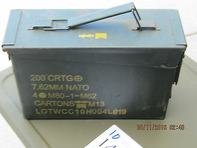 Ammo can M19A1 7.62 MM Military Surplus measures 10 3/4 X 7 X 3 3/4 outside