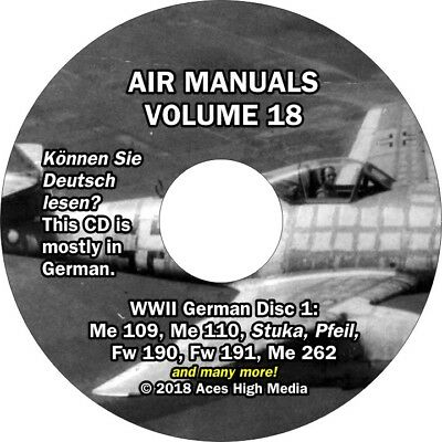 WWII German Flight manuals on CD Me109 Me110 Me262 Stuka Fw58 and many more!