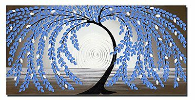 Original Abstract Hand Paint Canvas Oil Painting Blue Lucky Flower Tree Framed