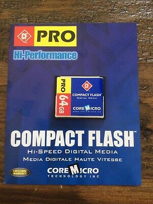 CoreMicro 64GB Compact Flash Hi Performance Hi Speed ~ Brand New In Package