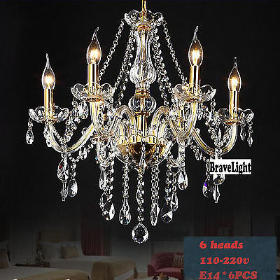 Vintage Crystal Ceiling Lighting Chandelier 6 Light Lamp Pendant Fixture Clear