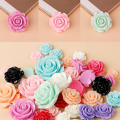 18x9mm DIY Mixed Lots Resin Rose Flowers Cabochons Cameo Flat For Phone Decor