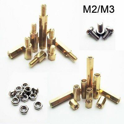 10/100pcs Brass Copper M2 M3 Hex Column Standoff Support Spacer Pillar PCB Board