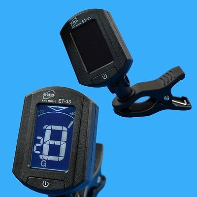 LCD Clip on Digital Chromatic Guitar Bass Violin Ukulele Tuner with Battery